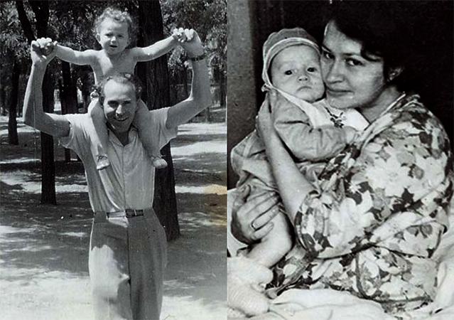Дима с папой и мамой в детстве