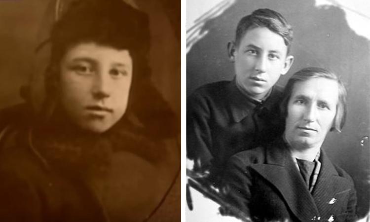 Владимир Басов в детстве и с матерью