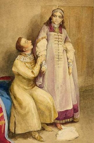 Лжедмитрий I и Ксения Годунова. Картина К. Лебедева