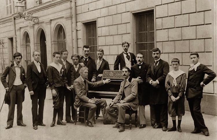 Класс фортепиано Шарля де Берио в 1895 году (Ровель слева)