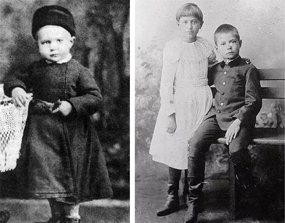 Евгений Замятин в детстве (справа с сестрой Александрой)