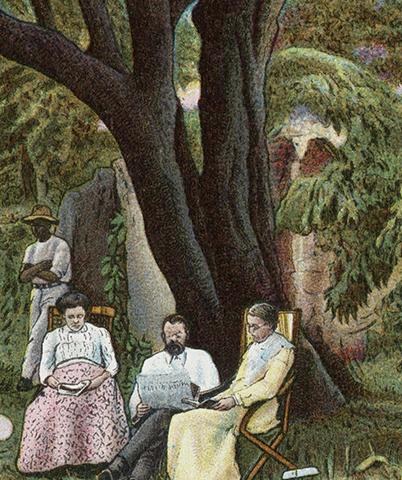 Мэри Моффет сидит под миндальным деревом с родителями Робертом и Мэри