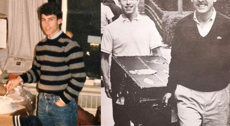 Майкл Бом в молодости (справа с отцом)