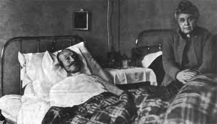 Раненный А. Брусилов в больнице с супругой