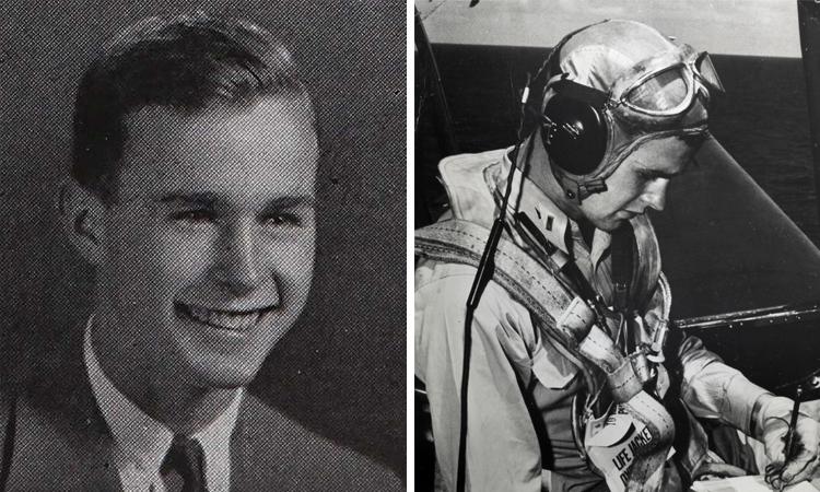 Джордж Буш — старший в 1942 и 1944 г.