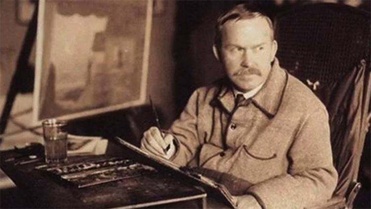 Борис Кустодиев за творчеством