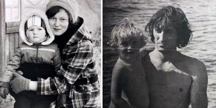 С мамой и папой в детстве