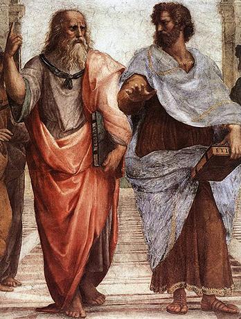 """Платон (слева) и Аристотель (справа) — фрагмент фрески Рафаэля """"Афинская школа"""""""