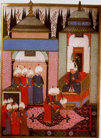 Султан Селим II принимает посла Сефевидов во дворце в Эдирне в 1567 году.