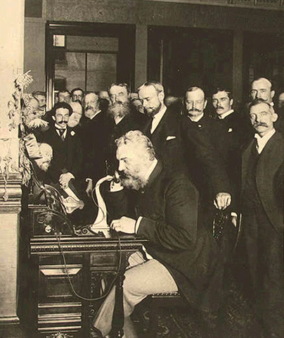 Белл на открытии междугородней линии из Нью-Йорка в Чикаго в 1892 году