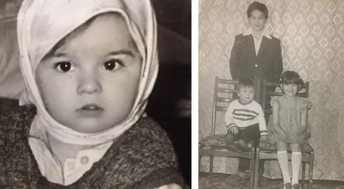 Оксана Ковалевская в детстве (справа с братьями)