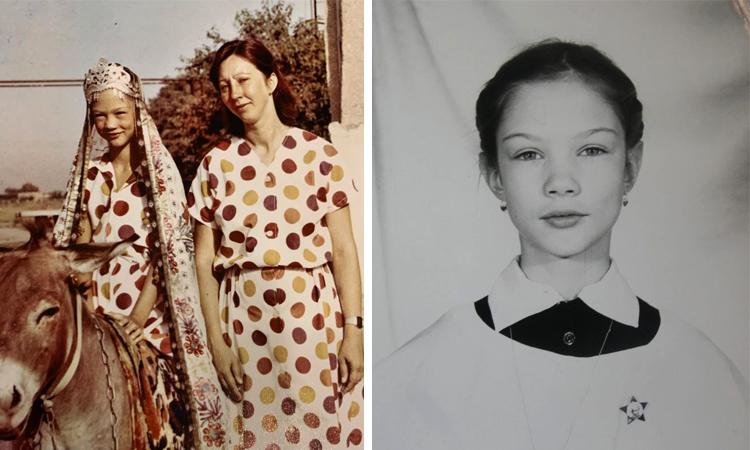 Екатерина Гамова в детстве (слева с мамой)