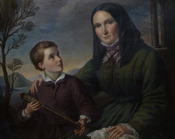Гумбольдт в детстве со своей овдовевшей матерью Марией Элизабет (Коломб) фон Гумбольдт