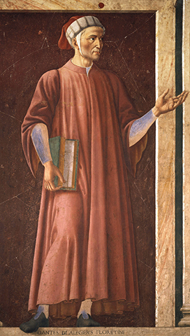 Данте Алигьери на фреске виллы Кардуччо Андреа дель Кастаньо (Галерея Уффици, 1450)
