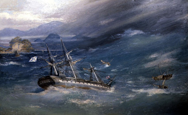 """Фрегат """"Диана"""" в бухте Симода (картина 1854 г.)"""