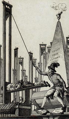 Карикатура казни Робеспьера