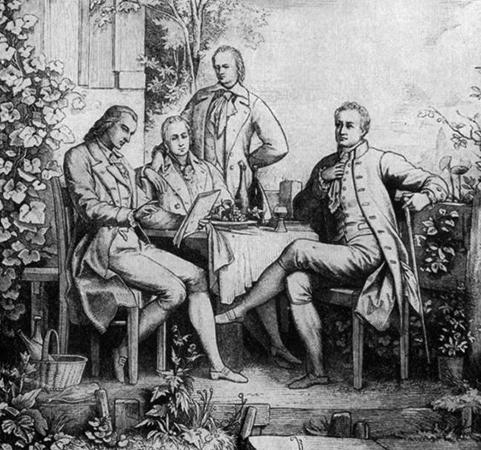 Шиллер, Вильгельм и Александр фон Гумбольдт с Гете в Йене