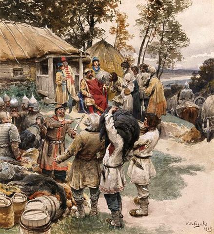 Князь Игорь (сын Рюрика) собирает дань с древлян в 945 году