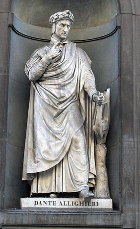 Статуя Данте в Уффици, Флоренция