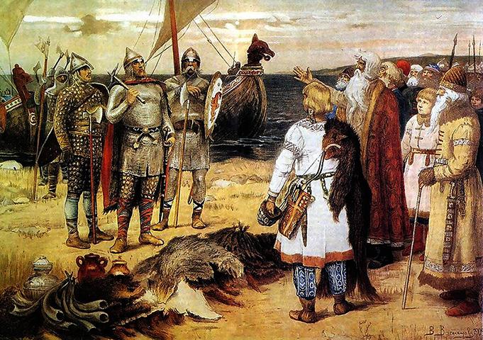 «Прибытие Рюрика в Ладогу» (худ. Васнецов В. М. XIX век)