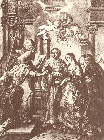 Свадьба Алексея Михайловича и Натальи Нарышкиной (Гравюра XVII века)
