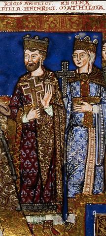 Генрих изображен рядом со своей матерью, императрицей Матильдой, в рукописи XII века