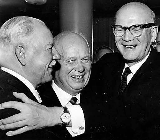 С Никитой Хрущёвым и Урхо Кекконеном (1960)