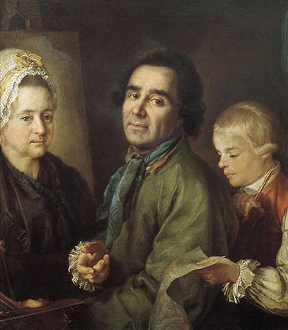 Портрет Алексея Антропова с сыном перед портретом жены Елены Васильевны. Худ. П.С. Дрождин