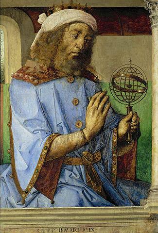 Птолемей с моделью армиллярной сферы. Й.В Гента и П. Берругете, 1476 год, Лувр, Париж