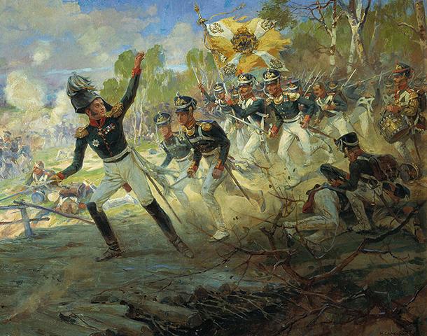 Подвиг солдат Раевского под Салтановкой. худ. Н. С. Самокиш, 1912 г.