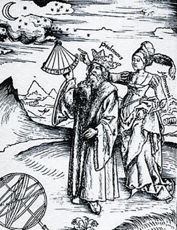 Гравюра с изображением коронованного Птолемея, руководимого музой астрономии Уранией, из книги «Философская маргарита» Грегора Райша, 1508 год.