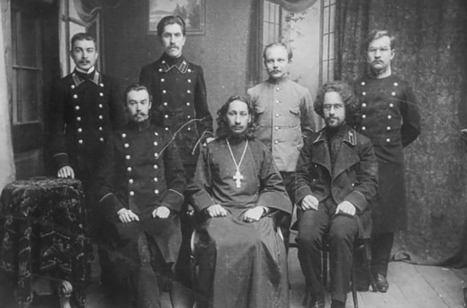 Со студентами Московской духовной академии (1912)