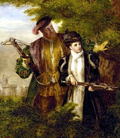 Генрих VIII и Анна Болейн во время охоты в Виндзорском лесу (худ. У. П. Фрайт, 1903)
