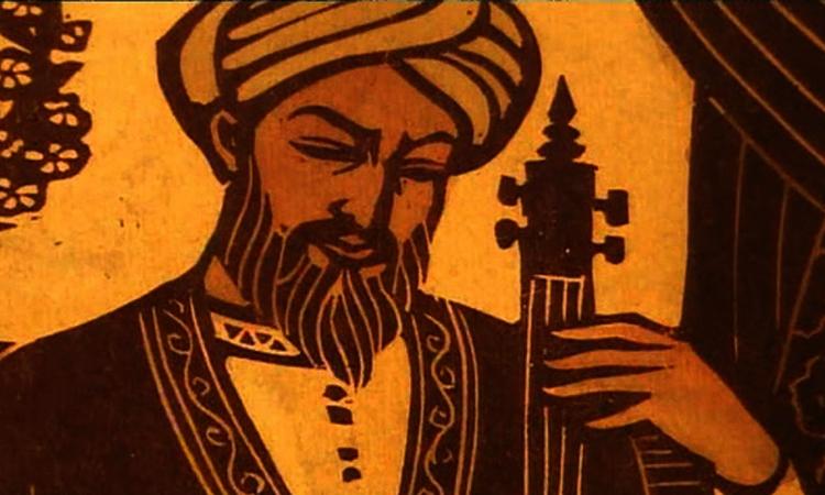 Аль-Фараби с музыкальным инструментом