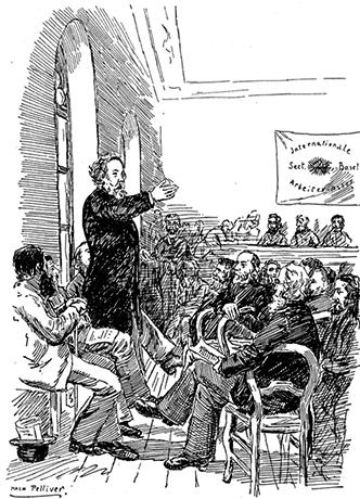 Михаил Бакунин выступает перед членами I Интернационала