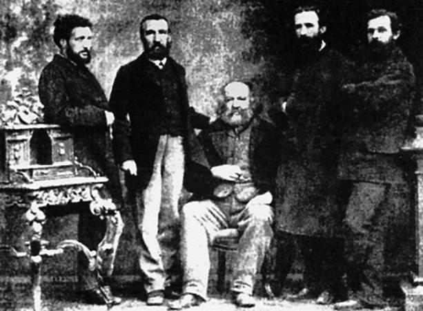 Михаил Бакунин (в центре) в числе участников I Интернационала. Базель, 1869 г.