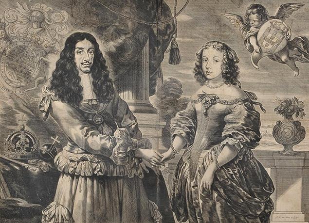 Голландская гравюра Карла II и Екатерины Брагансской