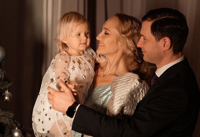 С Дмитрием и дочерью Стефанией