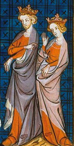 Родители — Генрих II и Алиенора Аквитанская. Изображение XIV века.
