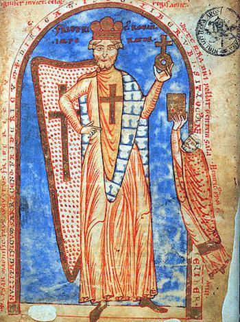 Фридрих I Барбаросса в образе крестоносца, миниатюра 1188 г.
