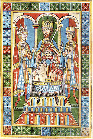 Фридрих Барбаросса (в центре) в окружении двух своих детей, короля Генриха VI (слева) и герцога Фридриха VI (справа)