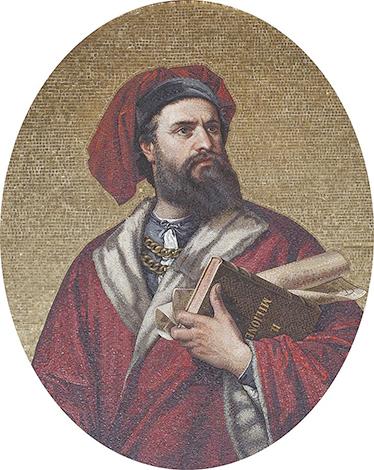 Мозаика Марко Поло в Палаццо Дориа-Турси в Генуе, Италия