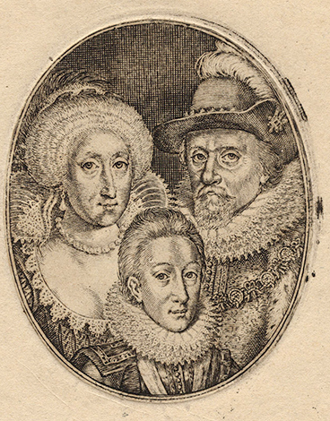 Карл I и его родители – Яков VI и Анна Датская. Гравюра Симона де Пасса ок. 1612 г.