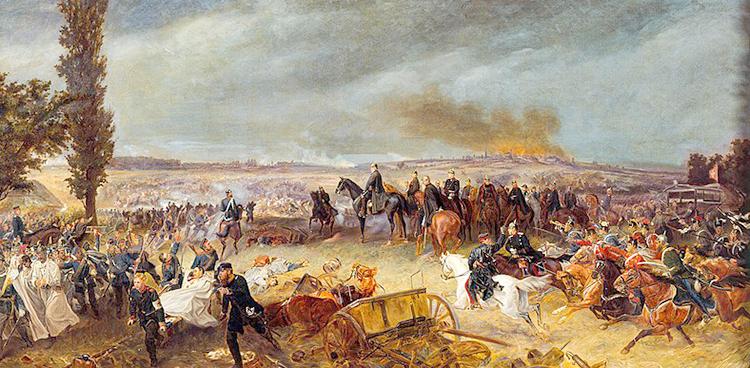 Вильгельм I на черном коне со своей свитой, Бисмарком, Мольтке, Рооном и другими, наблюдают за битвой при Кениггреце, 1866 г.