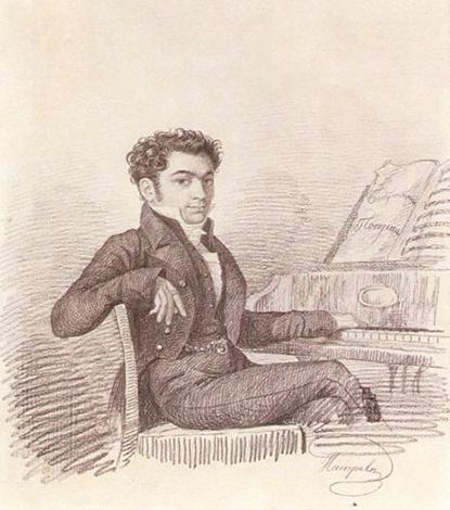 Алексей Верстовский в молодости на гравюре 1830-ых