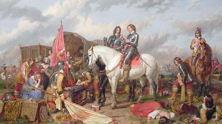 Оливер Кромвель в битве при Нейзби в 1645 году. худ. Чарльз Ландсир