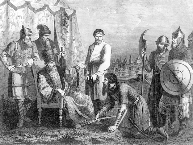 Иван Болотников является с повинной перед царём Василием Шуйским