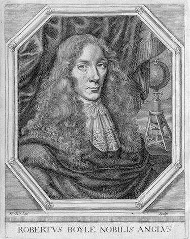Бойл в возрасте 37 лет, на заднем плане - его воздушный насос. Франсуа Диодати реконструировал это изображение по гравюре Уильяма Фэрторна (1680 г.)