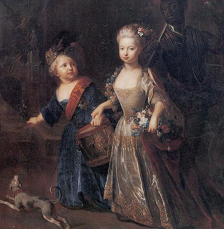 Фридрих II с сестрой Вильгельминой (картина Антуана Песне, 1715 г.)