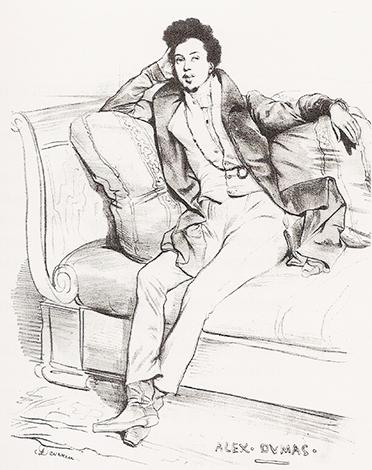 Александр Дюма в 27 лет (эскиз Ашиля Девериа)
